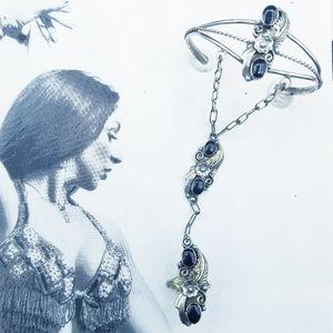 Vintage Navajo sterling onyx slave bracelet